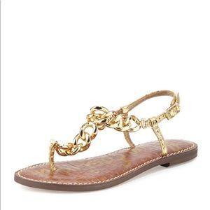 Sam Edelman Grella Chain T-Strap Sandal, Gold Boa